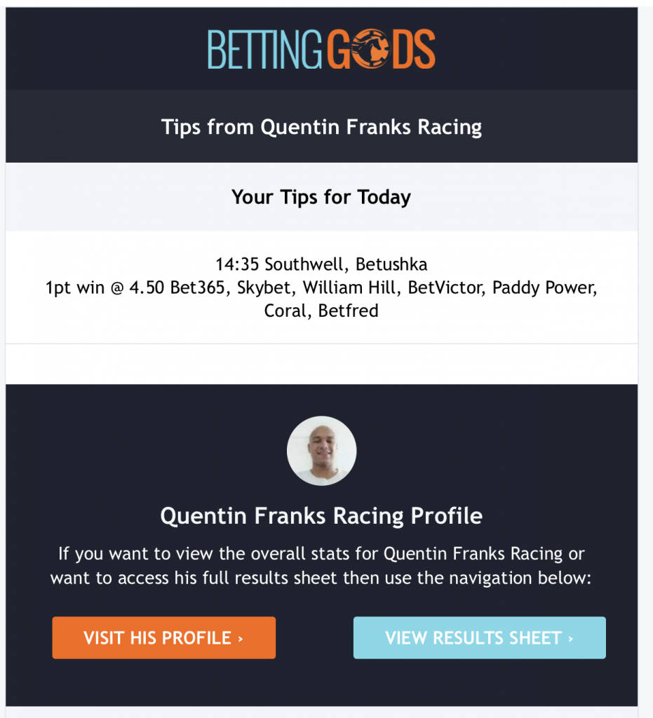 An example of an email from Quentin Franks Racing.